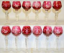 Twelve Cranberry European Cutback Crystal Wines, No label, Cut with grapes and leaves, star, crisscross and fan dividers
