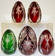 Five European Cut Crystal Egg-Shaped Lights, four ruby, one green, 5