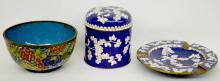3 Cloisonne Collectibles - Cigarette Jar, Bowl and Ashtray, Tallest 3 1/2