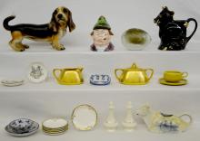 Large Group of Collectibles including Goebel dog, Palmer Cox humidor, Lenox shakers, Pearl China & Delft cow creamers plus more