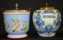 Vintage Ice Bucket and a Tobacco Jar: 1) Unmarked ice bucket has pink borders and blue body decorated with flowers, silver plated fixtures, 6