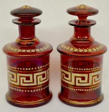 Pair of Bohemian Ruby Glass Scent Bottles, Greek Key enameling with gold trim, 6