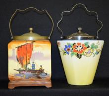 Two Vintage English Hanley by L & Sons Biscuit Jars with EPNS Lids and Handles, One decorated with boats, the other with flowers