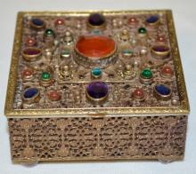Austrian Bronze Box with Semi-Precious and Glass Stones in amethyst, emerald green, sapphire blue, and carnelian standing on carnelian feet and wood lined, 2