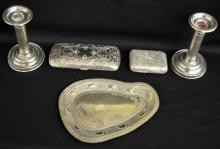 Group of Sterling Silver, Silver-plate and Nickel Collectibles including candlesticks, eyeglass case, soap box and tray