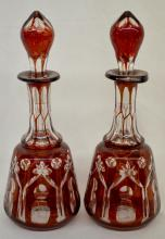 Pair of Bohemian Ruby Stained Cutback Scent Bottles, 8 1/2