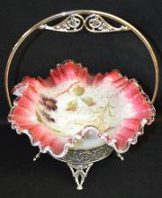 Bride's Bowl in Aurora Triple Plate Frame, white to rose cased bowl with clear rim, Mica flake interior with painted floral decoration, 9 3/4