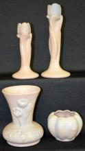 Four Van Briggle Pottery Vases, all taupe with blue tint, all marked bases and artist signed: vase with bouquet 5 1/4