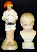 Two Figural Sanders: 1) Full figural boy with fishing net, painted features on porcelain, 5 1/2
