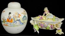 Oriental Ginger Jar and Porcelain Candy Dish: 1) Ginger jar with Oriental mark on bottom; 2) Porcelain dish decorated with clusters of grapes with 2 boys and 1 girl carrying the dish and another girl seated on top, not marked.  Tallest 8 1/2