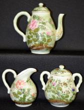 Antique Three Piece Celadon Porcelain Tea Set, nicely decorated, 8