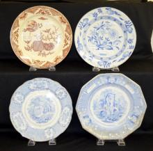 Four Late 19th Century Staffordshire Plates: 1) Furnivals, Dresden England, 10