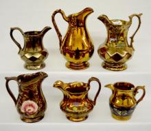 Six Antique English Copper Lustre Creamers, molded patterns, floral painted, 8