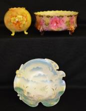 Three Antique China Pieces: 1) Satinized swan serving dish, unmarked; 2) Vienna Austria rose bowl, hand painted; 3) Royal Vienna fernery with insert, four-footed, rose décor, 4