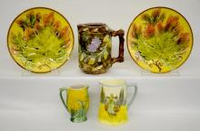 Five Pieces of High Gloss Pottery: 1) Majolica milk jug, 5 1/2