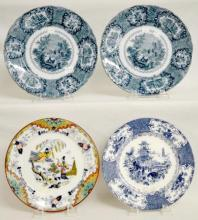 Four Antique English Serving Plates: Pair of New Wharp Pottery Oriental Pattern Plates, 9 3/4