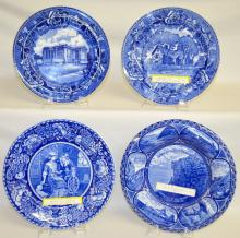 Four Old English Flow Blue Souvenir Plates, Two R&M and Two Wedgwood,  9 and 10