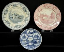 Three American Scenic Souvenir Plates: 1) Buffalo Pottery