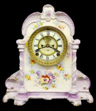 Ansonia Royal Bonn #500 Lavender, Floral, and Cream Antique China Clock, signed two piece porcelain dial, signed Ansonia pendulum, 12 3/4