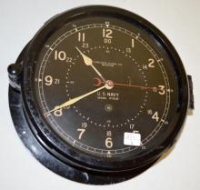 Chelsea Clock Co. Boston U.S. Navy Ship's Clock No. 87403E Type B 12/24 hour dial, 11E Deck/Engine Room clock, phenolic case