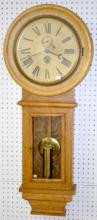 Antique Oak One Weight Wall Regulator Clock, advertising Southern Pacific Lines Tucson, Arizona with seconds bit, time only, brass trim weight and pendulum