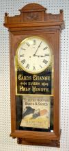 Ornate Carved Walnut Seth Thomas Advertising Wall Clock with rotating paper advertisements, bell strike, brass movement and mechanism, masterfully built by IL owner, 52
