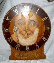 Vintage Ever-Ready Safety Razor Advertising Wall Clock, man shaving