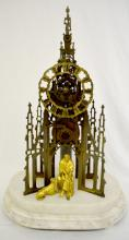 Sir Walter Scott Skeleton Clock with a marble base, a  brass dial and frame and the pendulum; 18 1/4