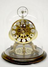 Rare Seth Thomas Skeleton Clock Under Glass Dome, balance wheel escapement; 9