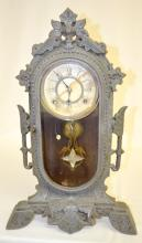 RARE!! N. Muller Sons Iron Case Clock, Patented 1876 with a paper dial and a mirror star pendulum; 24