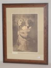 Signed Curtis Native American Print Titled