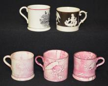Five Antique Mugs, Staffordshire and Others.  Tallest 2 3/4