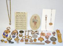 32 Lodge Pins, Pendants, Collar Buttons, and Other Small Items for the Purpose of Advertising