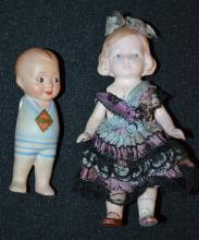 Two Miniature All Bisque Dolls, Vintage: 1.) Boy marked
