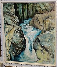 R. Duthie - View of a Waterfall, oil on board with