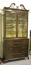 A George III mahogany secrétaire bookcase cabinet,
