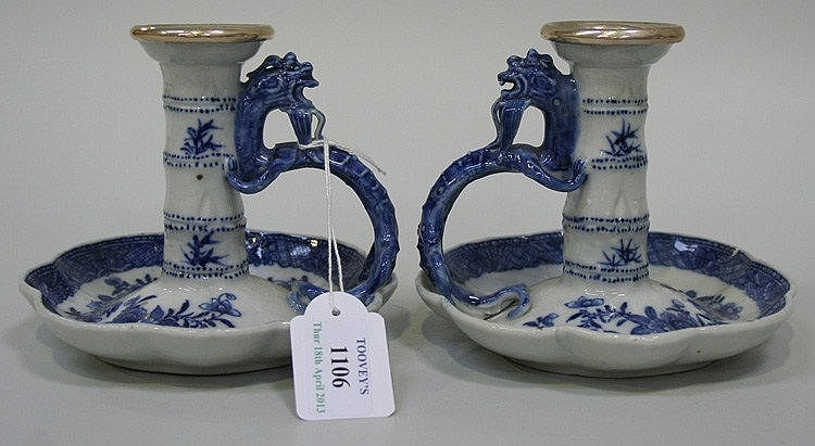 A pair of Chinese blue and white export porcelain