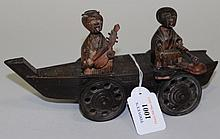 A Japanese Kobe carved softwood automaton toy,