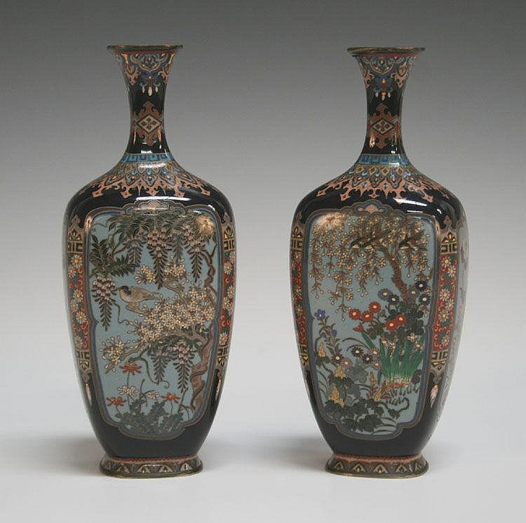 A pair of Japanese cloisonné vases, Meiji period,