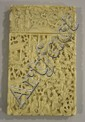 A Chinese Canton export ivory rectangular card