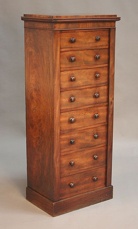 An early Victorian mahogany Wellington chest by