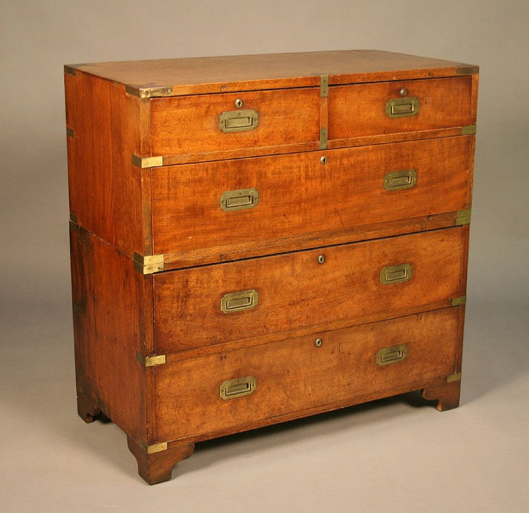 A 19th Century walnut campaign chest of two short