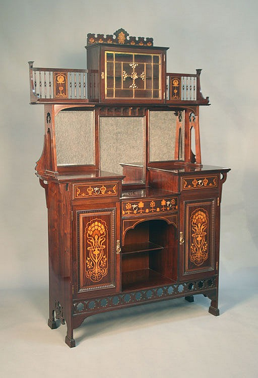 An Art Nouveau mahogany side cabinet by Shapland