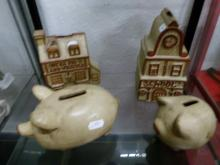 Four Studio Pottery Money boxes ? Two Pigs and Two Houses
