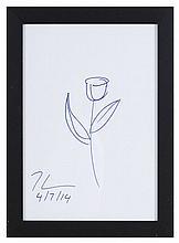 Jeef KOONS (1955) Fleur Dessin au feutre bleu monogrammé et daté 4/7/14 21x