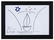 Jeef KOONS (1955) Bateau Dessin au feutre bleu daté 4/7/15 21x29 cm