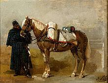 Isidore PILS (Paris 1813 - Douarnenez 1875) Artilleur avec sa monture Toile marouflée sur panneau 24 x 31,5 cm Signé en bas à droite I. Pils