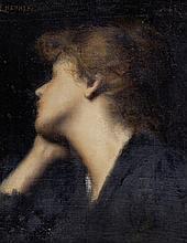 Jean Jacques HENNER (1829-1905), Portrait de femme. Huile sur toile signée en haut à gauche. 41,5 x 32 cm
