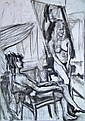 Nude studies, 1950s, a collection of charcoal or