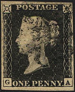 Philatelic - Great Britain Stamps : 1840 1d Black,